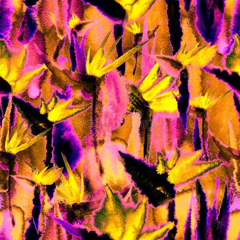Το εξωτικό τροπικό άνευ ραφής σχέδιο ζουγκλών ατελείωτο επαναλαμβάνει το σκοτεινό υφαντικό ύφασμα χρωστικών ουσιών δεσμών τυπωμέν στοκ εικόνα