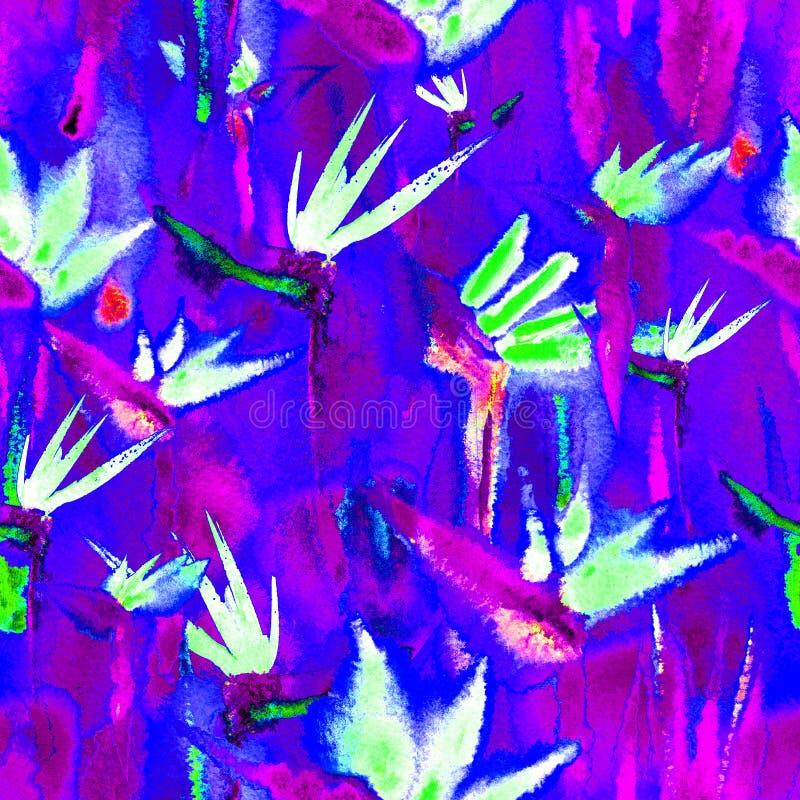 Το εξωτικό τροπικό άνευ ραφής σχέδιο ζουγκλών ατελείωτο επαναλαμβάνει το σκοτεινό υφαντικό ύφασμα χρωστικών ουσιών δεσμών τυπωμέν ελεύθερη απεικόνιση δικαιώματος