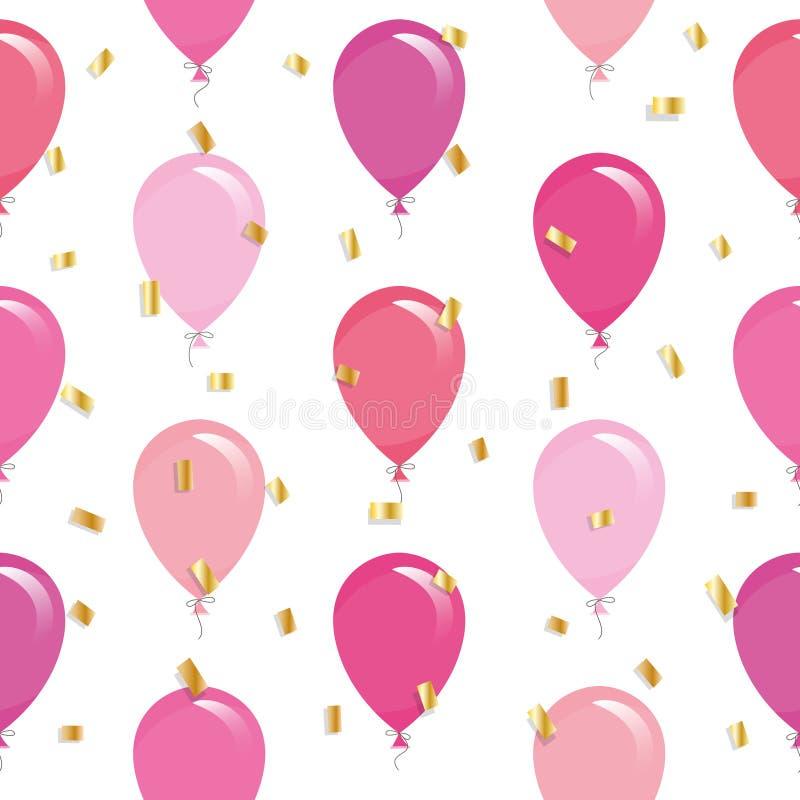 Το εορταστικό άνευ ραφής σχέδιο με τα ζωηρόχρωμα μπαλόνια και ακτινοβολεί κομφετί Για τα γενέθλια, ντους μωρών, σχέδιο διακοπών διανυσματική απεικόνιση