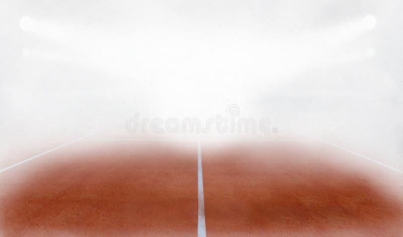 Το επίγειο δικαστήριο Tenis στην ομίχλη τρισδιάστατη δίνει ελεύθερη απεικόνιση δικαιώματος
