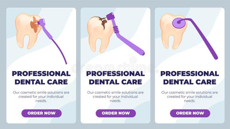 Το επίπεδο έμβλημα γράφεται την επαγγελματική οδοντική προσοχή απεικόνιση αποθεμάτων