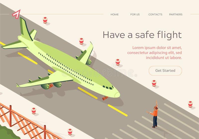 Το επίπεδο έχει την ασφαλή λουρίδα διαδρόμων πτήσης Isometric ελεύθερη απεικόνιση δικαιώματος