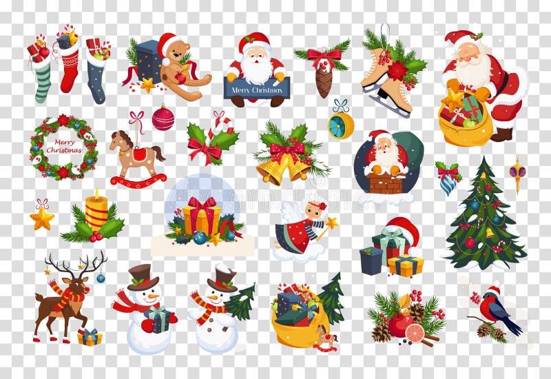 Το επίπεδο διανυσματικό σύνολο ζωηρόχρωμων στοιχείων αφορούσε τα Χριστούγεννα και το νέο θέμα έτους Άγιος Βασίλης, παιχνίδια, δώρ διανυσματική απεικόνιση