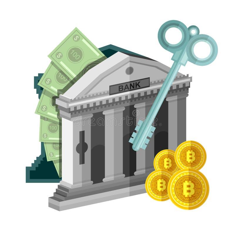 Το επίπεδο επιχειρησιακό εικονίδιο δάγκωσε τα νομίσματα κοντά στην τράπεζα με τα μετρητά απομονώνει απεικόνιση αποθεμάτων