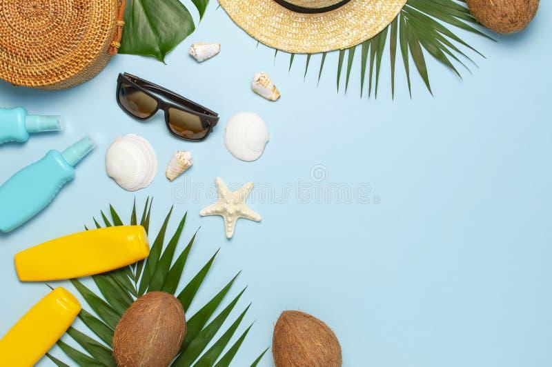 Το επίπεδο θερινής σύνθεσης βρέθηκε Στρογγυλά καθιερώνοντα τη μόδα sunscreen καρύδων φύλλων φοινικών γυαλιών ηλίου καπέλων αχύρου στοκ εικόνα