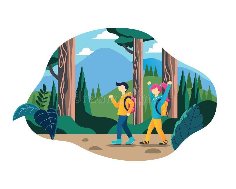 Το επίπεδο νέο ζεύγος γυναικών και ανδρών απολαμβάνει το ταξίδι στο δάσος ελεύθερη απεικόνιση δικαιώματος