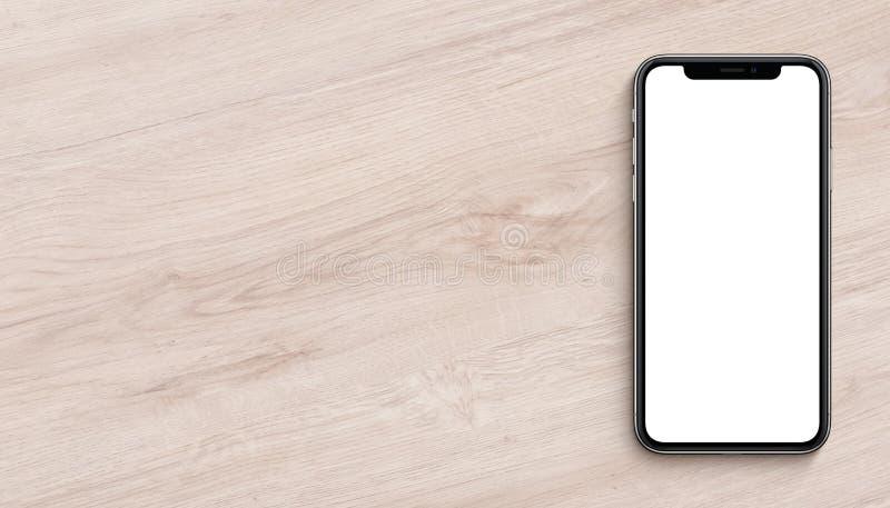 Το επίπεδο προτύπων Smartphone βάζει τη τοπ άποψη που βρίσκεται στο ξύλινο έμβλημα γραφείων γραφείων με το διάστημα αντιγράφων στοκ εικόνες