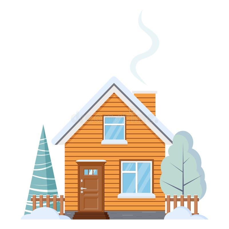Το επίπεδο σχέδιο απομόνωσε το ξύλινο αγροτικό αγροτικό σπίτι με τη σοφίτα, καπνοδόχος, φράκτες, με το χιονώδεις χειμερινό δέντρο ελεύθερη απεικόνιση δικαιώματος