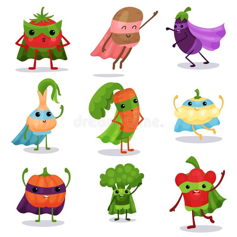 Το επίπεδο σύνολο χαρακτήρων κινούμενων σχεδίων λαχανικών superhero στα ακρωτήρια και μασκών σε διαφορετικό θέτει ελεύθερη απεικόνιση δικαιώματος