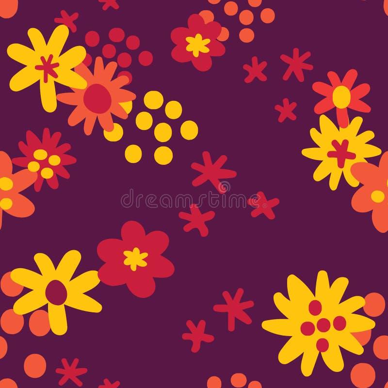 Το επίπεδο φθινόπωρο χρώματος ανθίζει το άνευ ραφής υπόβαθρο σχεδίων, σχέδιο σχεδίων επιφάνειας απεικόνιση αποθεμάτων