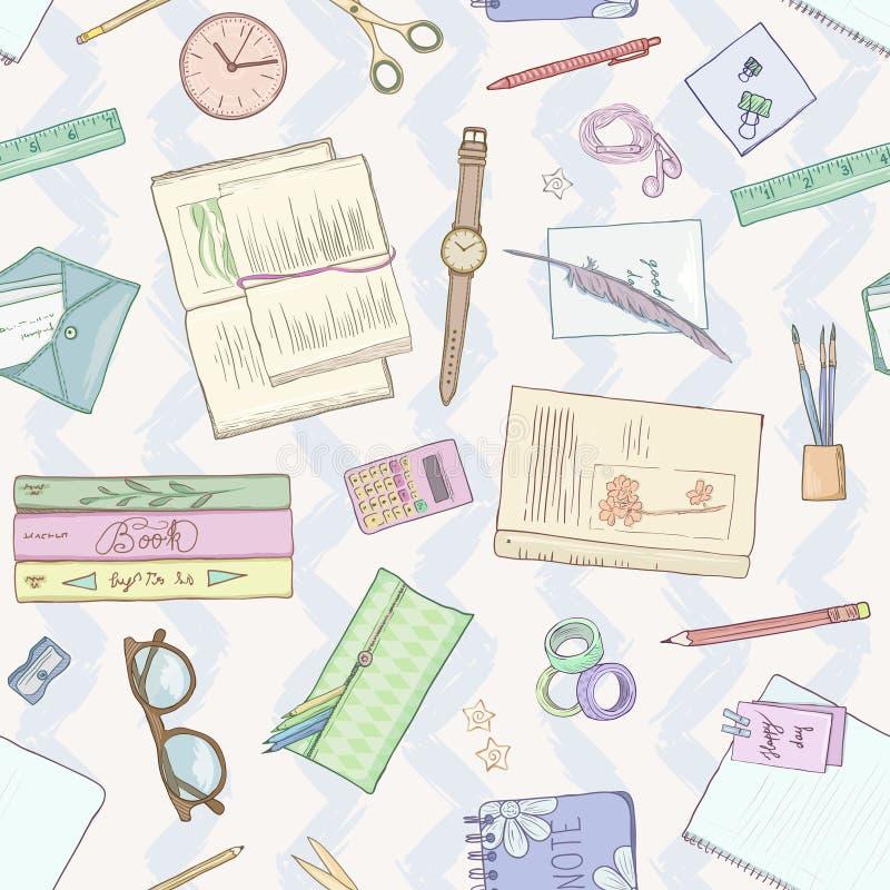 Το επίπεδο χαρτικών βάζει, βιβλία, υπόβαθρο που μελετά, δημιουργικός τρόπος ζωής, προγραμματίζοντας την άνευ ραφής συρμένη χέρι α ελεύθερη απεικόνιση δικαιώματος