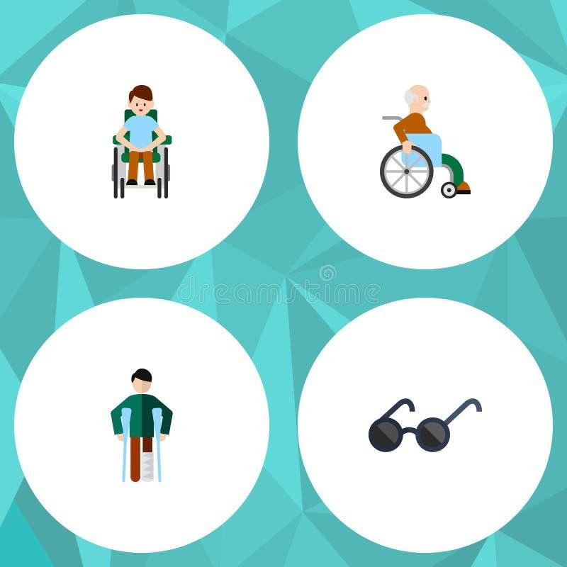 Το επίπεδο εικονίδιο ακρωτηριάζει το σύνολο με ειδικές ανάγκες ατόμου, που τραυματίζεται, θεαμάτων και άλλων διανυσματικών αντικε ελεύθερη απεικόνιση δικαιώματος