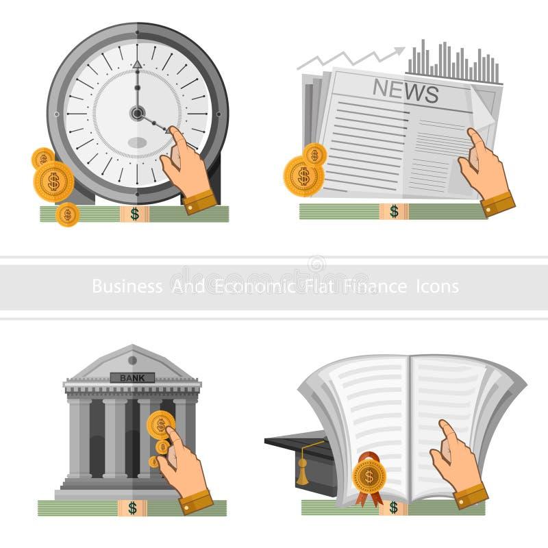 Το επίπεδο επιχειρησιακό εικονίδιο σχεδίου κερδίζει και πολλαπλασιάζει τα χρήματα και ο χρόνος είναι χρήματα διανυσματική απεικόνιση