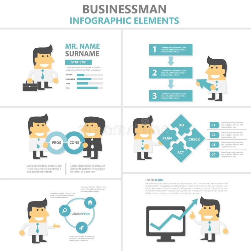 Το επίπεδο διάνυσμα σχεδίου στοιχείων Infographic επιχειρηματιών έθεσε για τη διαφήμιση μάρκετινγκ, buinessman διάνυσμα κινούμενω απεικόνιση αποθεμάτων