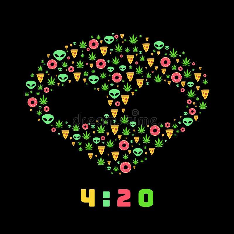 Το επίπεδο διανυσματικό σχέδιο ταξιδιού ναρκωτικών ουσιών με τη μαριχουάνα βγάζει φύλλα, donuts, φέτες πιτσών και αλλοδαποί Απομο ελεύθερη απεικόνιση δικαιώματος