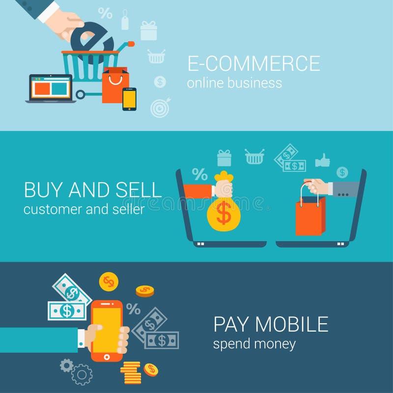 Το επίπεδο κινητό σε απευθείας σύνδεση ηλεκτρονικό εμπόριο ύφους αγοράζει τη infographic έννοια αμοιβής ελεύθερη απεικόνιση δικαιώματος