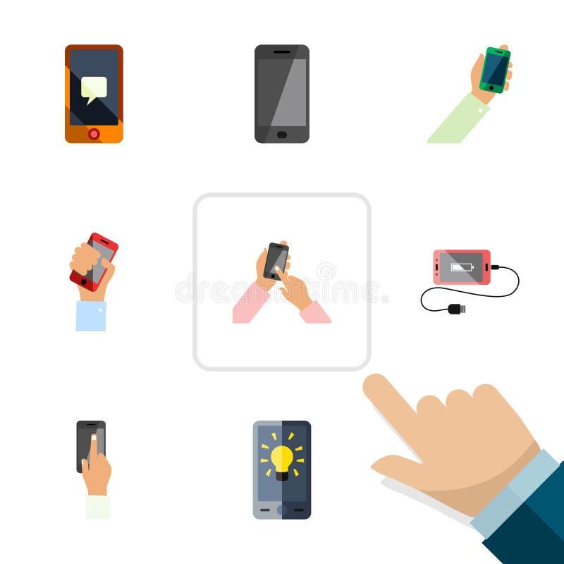 Το επίπεδο τηλεφωνικό σύνολο εικονιδίων διαλογικής επίδειξης, κρατά το τηλέφωνο, την οθόνη και άλλα διανυσματικά αντικείμενα Επίσ απεικόνιση αποθεμάτων
