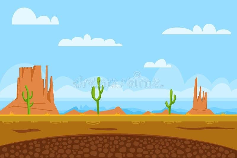 Το επίπεδο υπόβαθρο παιχνιδιών παρουσιάζει έρημο διανυσματική απεικόνιση