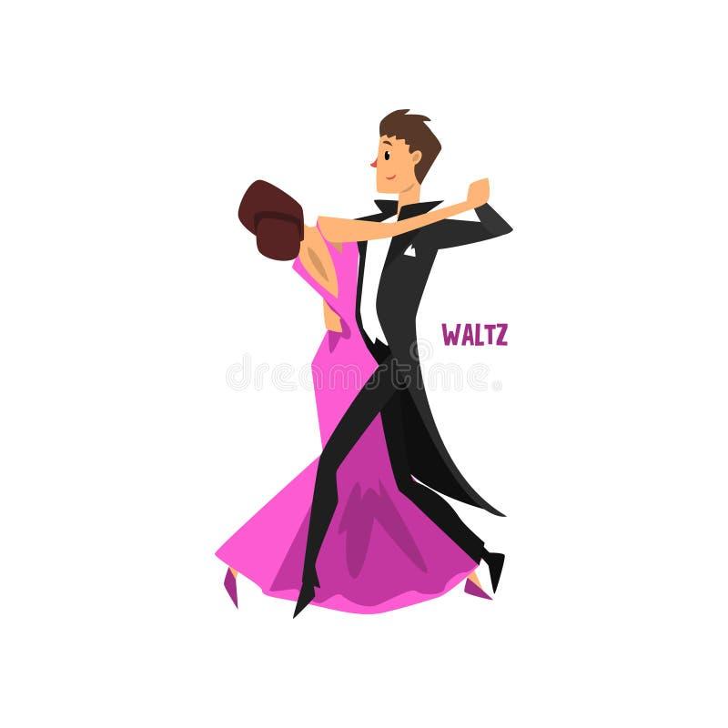 Το επαγγελματικό βαλς χορού ζευγών χορευτών, ζευγάρι του νεαρού άνδρα και της γυναίκας έντυσε στον κομψό ιματισμό εκτελώντας το χ απεικόνιση αποθεμάτων