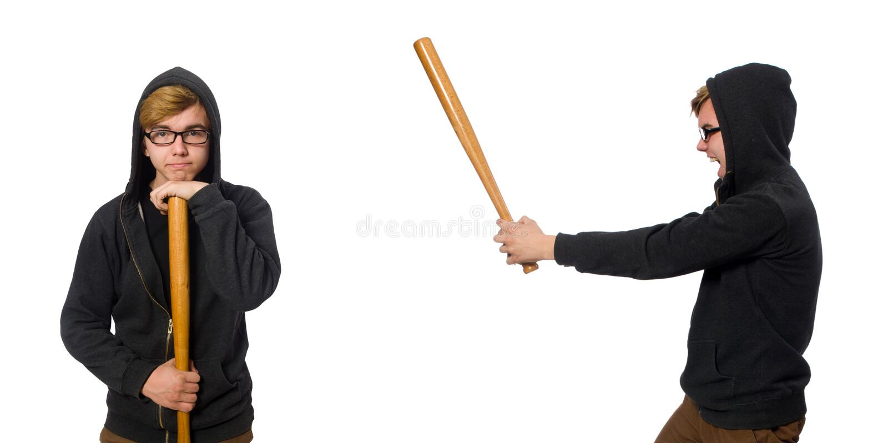 Το επιθετικό άτομο με το ρόπαλο του μπέιζμπολ που απομονώνεται στο λευκό στοκ φωτογραφία