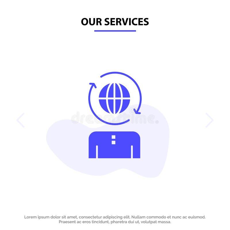 Το επιχειρηματικό πεδίο υπηρεσιών μας, παγκόσμιο, διαχείριση, σύγχρονο στερεό πρότυπο καρτών Ιστού εικονιδίων Glyph ελεύθερη απεικόνιση δικαιώματος