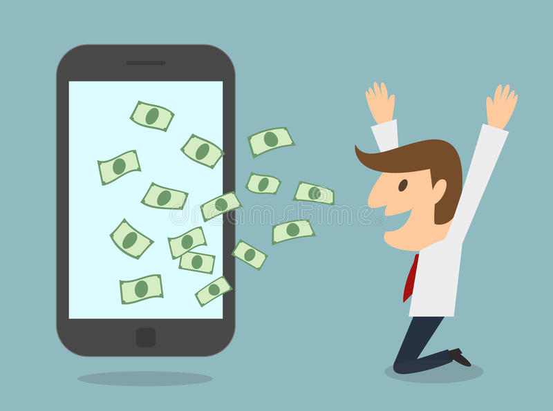 Το επιχειρησιακό άτομο κερδίζει τα χρήματα από την έξυπνη τηλεφωνική σε απευθείας σύνδεση επιχείρηση ελεύθερη απεικόνιση δικαιώματος