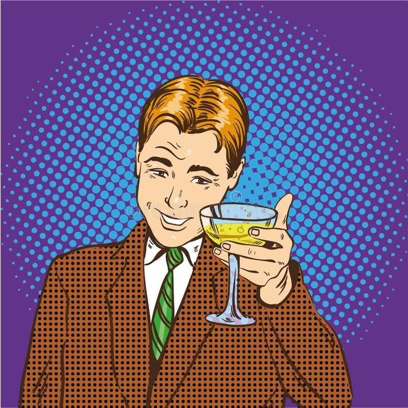Το επιχειρησιακό άτομο με το ποτήρι της σαμπάνιας γιορτάζει την κλειστή διαπραγμάτευση Ευθυμίες και διανυσματική απεικόνιση έννοι ελεύθερη απεικόνιση δικαιώματος