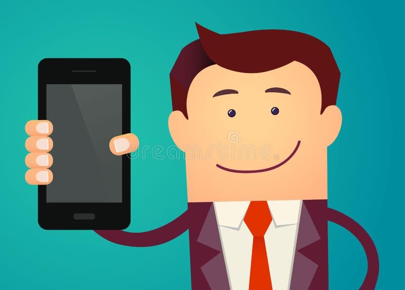 Το επιχειρησιακό άτομο παρουσιάζει έξυπνο τηλέφωνο επίσης corel σύρετε το διάνυσμα απεικόνισης ελεύθερη απεικόνιση δικαιώματος
