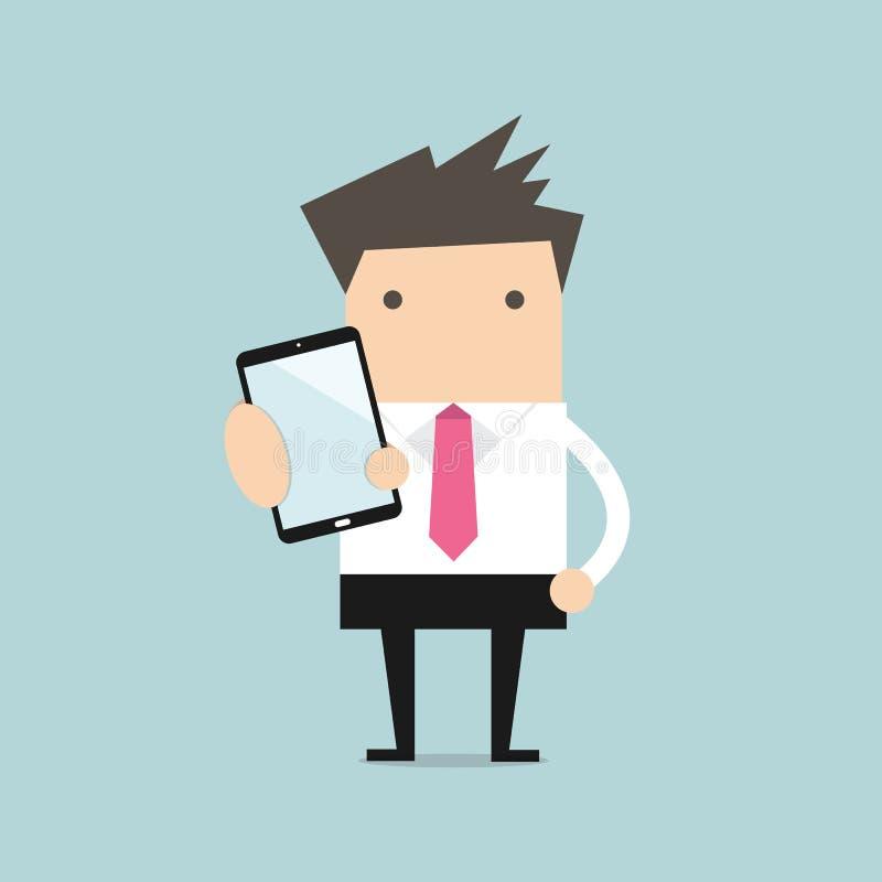 Το επιχειρησιακό άτομο παρουσιάζει έξυπνο τηλέφωνο διανυσματική απεικόνιση