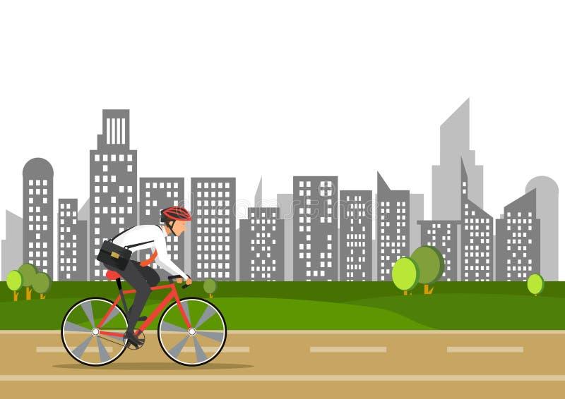 Το επιχειρησιακό άτομο στο ποδήλατο πηγαίνει να εργαστεί στην πόλη ελεύθερη απεικόνιση δικαιώματος