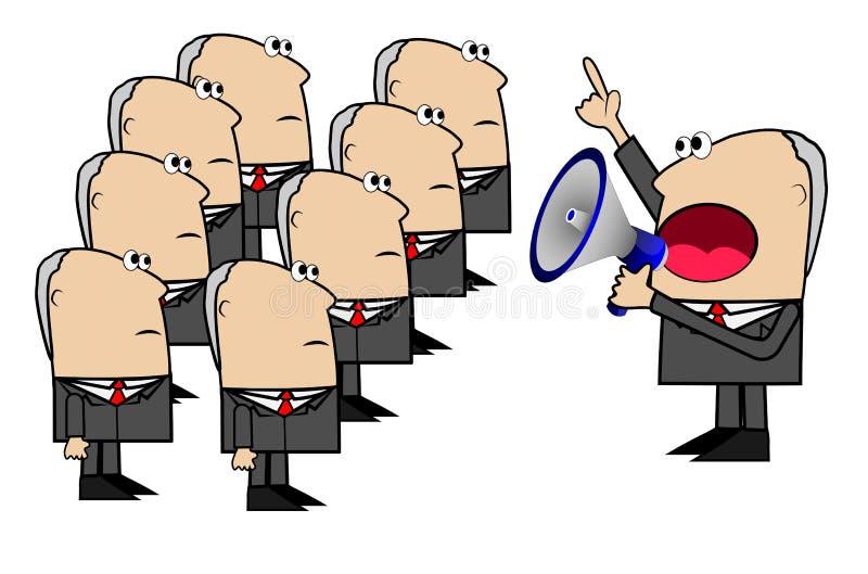 Το επιχειρησιακό άτομο φωνάζει megaphone στην εντολή των inferiors απεικόνιση αποθεμάτων