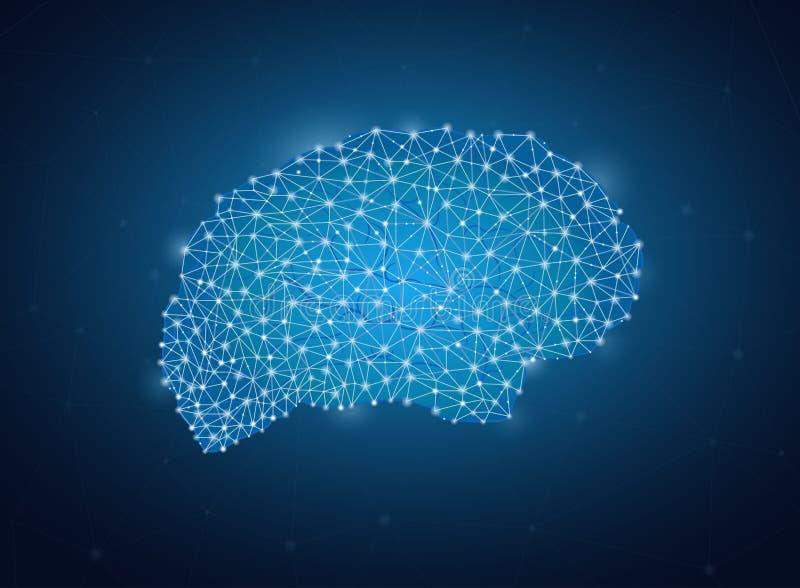 Το επιχειρησιακό δίκτυο μορφής εγκεφάλου, βιομηχανική έννοια Blockchain, πολύγωνα παγιδεύει το γραφικό, φουτουριστικό υπόβαθρο δι διανυσματική απεικόνιση