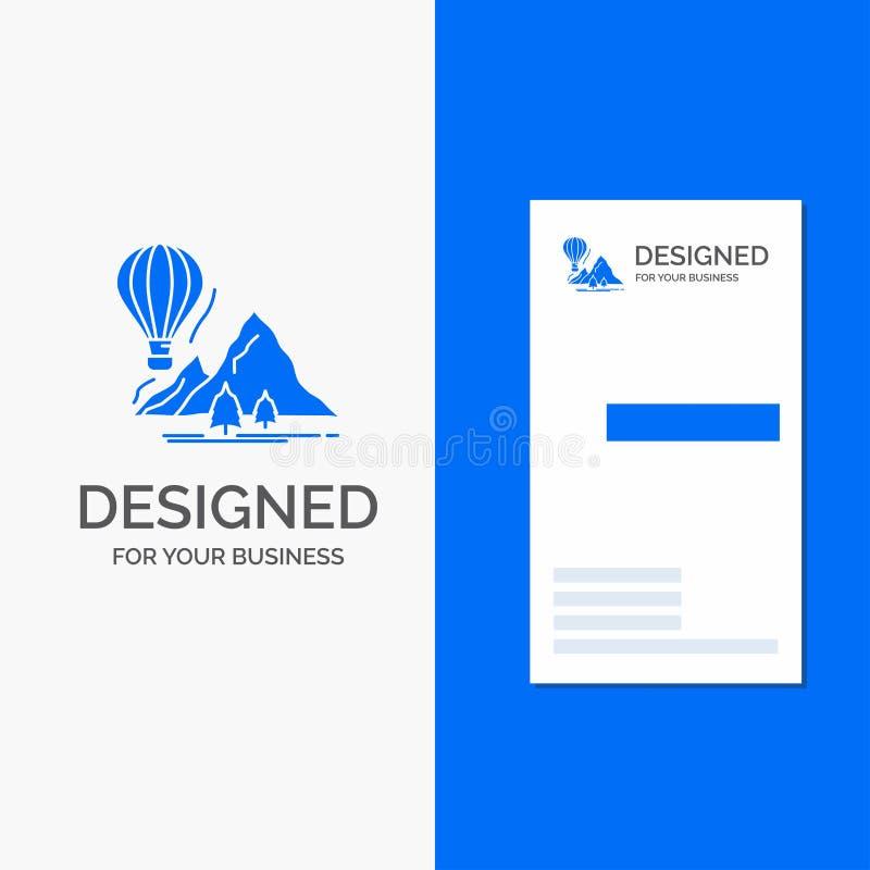 Το επιχειρησιακό λογότυπο για εξερευνά, ταξιδεύει, βουνά, στρατοπέδευση, μπαλόνια Κάθετο μπλε πρότυπο καρτών επιχειρήσεων/επίσκεψ διανυσματική απεικόνιση