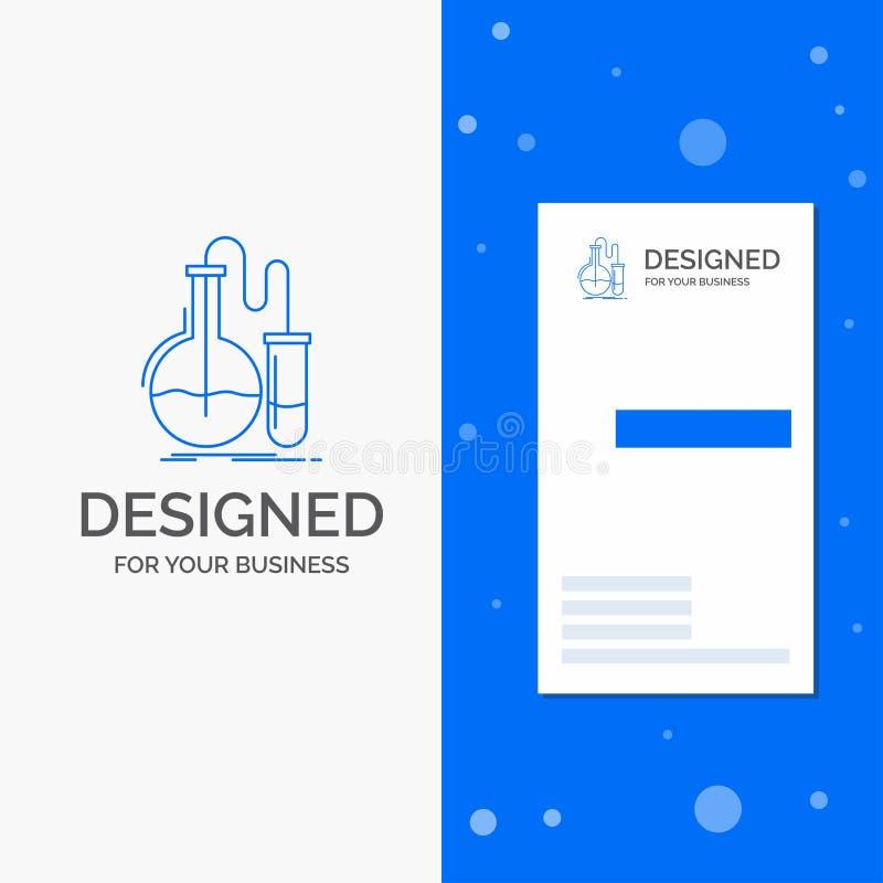 Το επιχειρησιακό λογότυπο για την ανάλυση, χημεία, φιάλη, έρευνα, εξετάζει το κάθετο μπλε πρότυπο καρτών επιχειρήσεων/επίσκεψης διανυσματική απεικόνιση