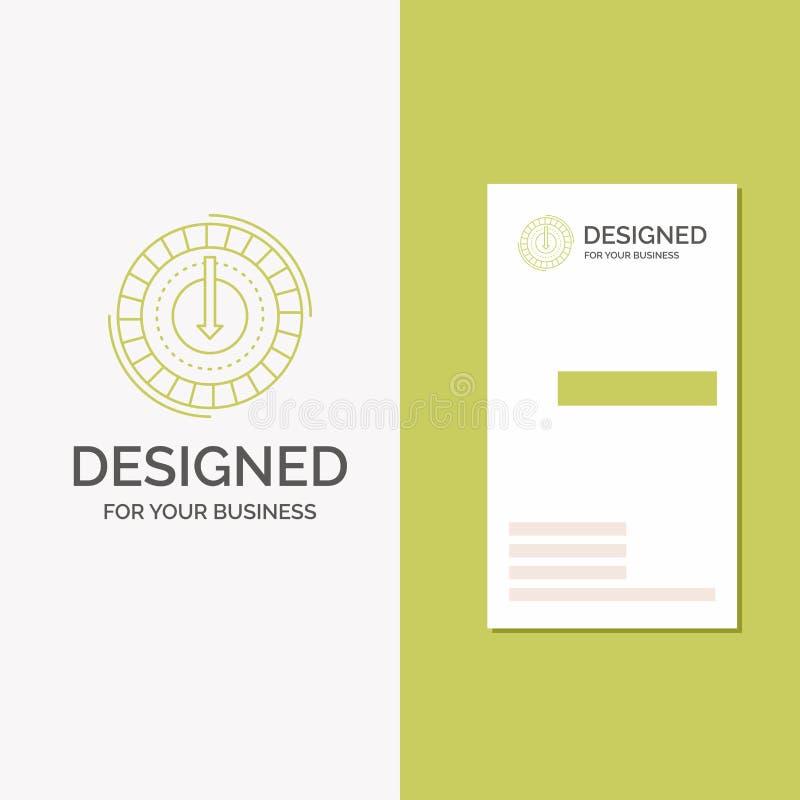 Το επιχειρησιακό λογότυπο για την κατανάλωση, κόστος, δαπάνη, χαμηλότερη, μειώνει Κάθετο πράσινο πρότυπο καρτών επιχειρήσεων/επίσ απεικόνιση αποθεμάτων