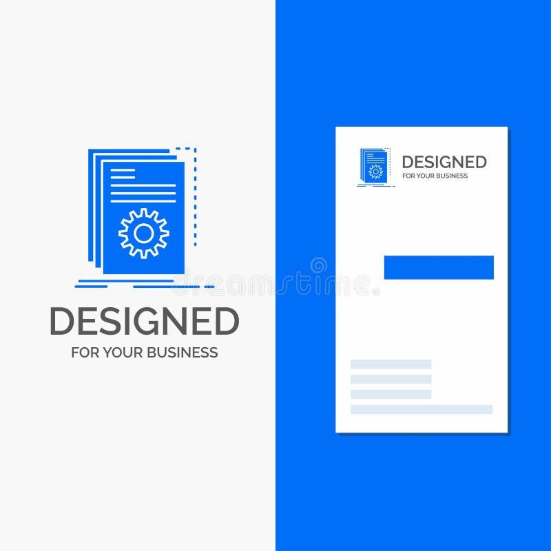 Το επιχειρησιακό λογότυπο για App, χτίζει, υπεύθυνος για την ανάπτυξη, πρόγραμμα, χειρόγραφο Κάθετο μπλε πρότυπο καρτών επιχειρήσ απεικόνιση αποθεμάτων