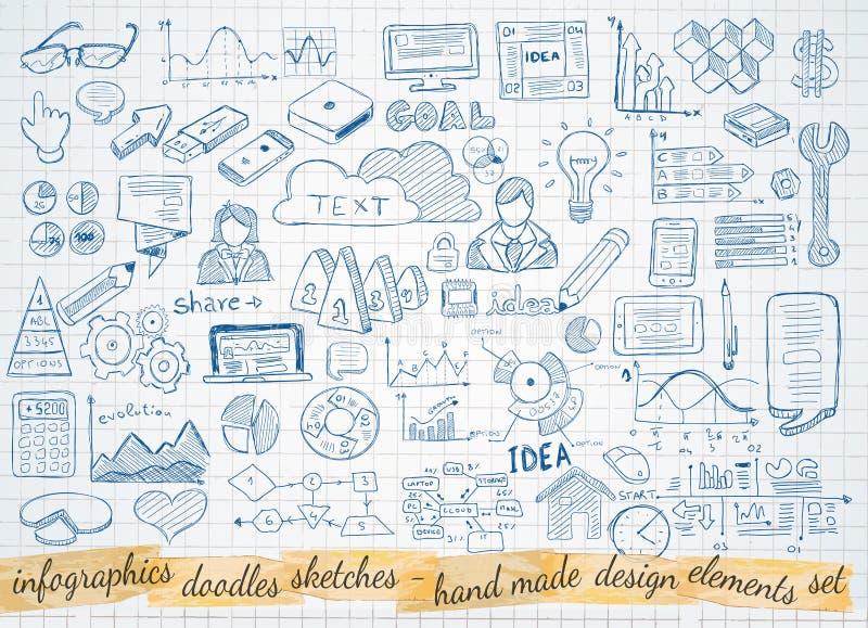 Το επιχειρησιακό doodles σκίτσο έθεσε: στοιχεία infographics που απομονώνονται ελεύθερη απεικόνιση δικαιώματος
