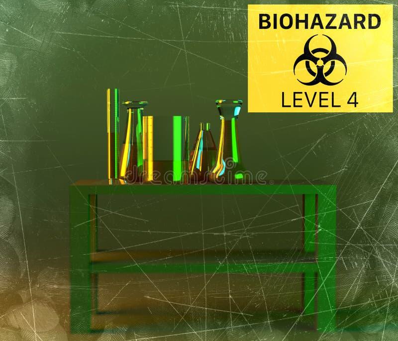 Το εργαστήριο και τα biohazards μελετούν, ανάλυση και δοκιμή με τα εμπορευματοκιβώτια για τα υγρά σε έναν πίνακα Ιοί και βακτηρίδ διανυσματική απεικόνιση