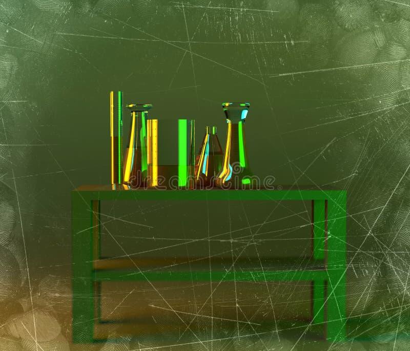 Το εργαστήριο και τα biohazards μελετούν, ανάλυση και δοκιμή με τα εμπορευματοκιβώτια για τα υγρά σε έναν πίνακα Ιοί και βακτηρίδ απεικόνιση αποθεμάτων