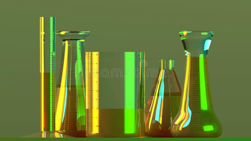 Το εργαστήριο και τα biohazards μελετούν, ανάλυση και δοκιμή με τα εμπορευματοκιβώτια για τα υγρά σε έναν πίνακα Ιοί και βακτηρίδ ελεύθερη απεικόνιση δικαιώματος