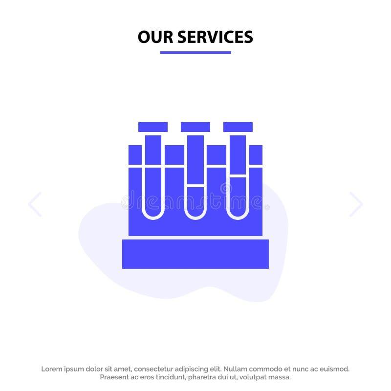Το εργαστήριο υπηρεσιών μας, σκάφες, δοκιμή, στερεό πρότυπο καρτών Ιστού εικονιδίων Glyph εκπαίδευσης διανυσματική απεικόνιση