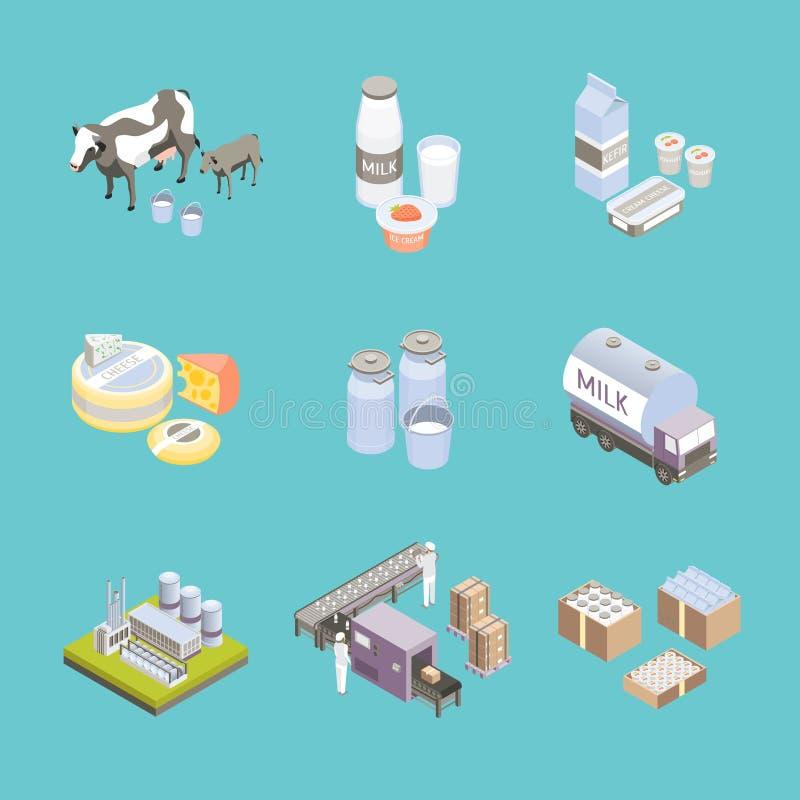 Το εργοστάσιο γάλακτος υπογράφει την τρισδιάστατη καθορισμένη Isometric άποψη εικονιδίων διάνυσμα απεικόνιση αποθεμάτων