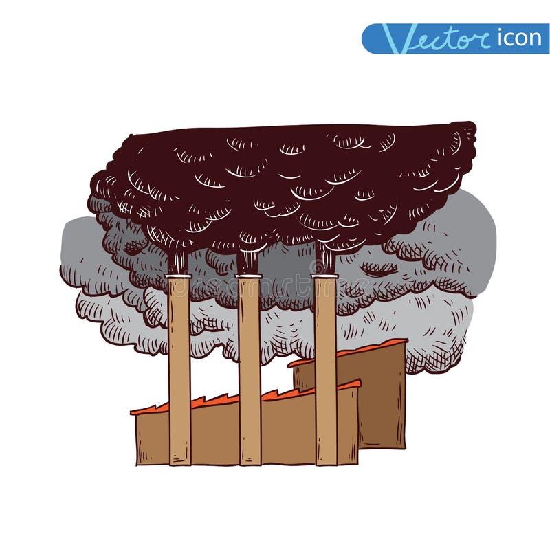 Το εργοστάσιο μολύνει, επιβλαβείς εκπομπές, διάνυσμα απεικόνιση αποθεμάτων