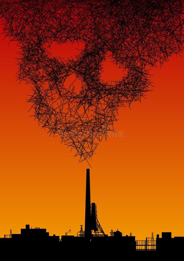 Το εργοστάσιο φυσά τον καπνό υπό μορφή αφηρημένου κρανίου διανυσματική απεικόνιση