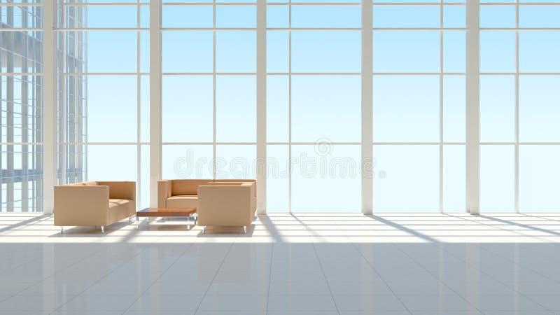 Το εσωτερικό ενός κτιρίου γραφείων διανυσματική απεικόνιση
