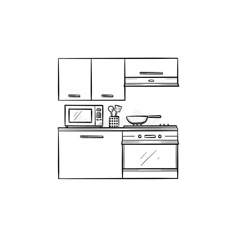 Το εσωτερικό και οι συσκευές κουζινών δίνουν το συρμένο εικονίδιο περιλήψεων doodle απεικόνιση αποθεμάτων
