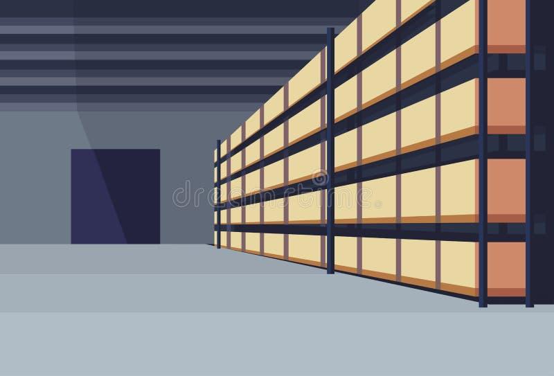 Το εσωτερικό κιβώτιο δεμάτων αποθηκών εμπορευμάτων στις λογιστικές σειρές έννοιας υπηρεσιών φορτίου παράδοσης ραφιών τοποθετεί σε διανυσματική απεικόνιση