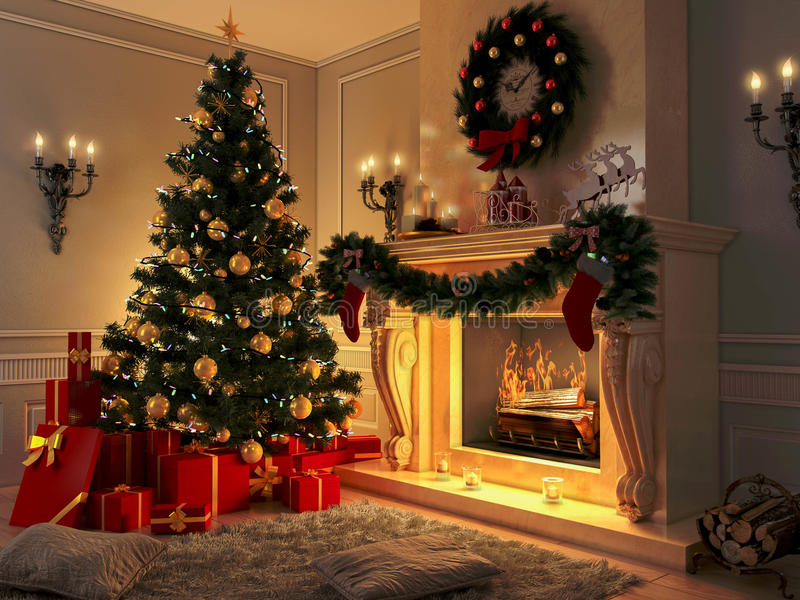 Το εσωτερικό με το χριστουγεννιάτικο δέντρο, παρουσιάζει και εστία κάρτα στοκ εικόνα με δικαίωμα ελεύθερης χρήσης