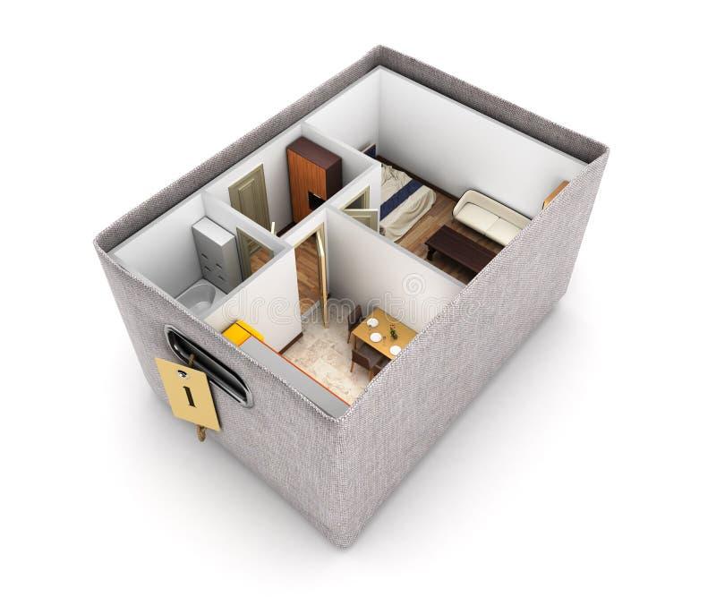 Το εσωτερικό σχεδιάγραμμα διαμερισμάτων διαμερισμάτων άστεγο μέσα στην έννοια κιβωτίων της αγοράς ενός σπιτιού ή της κίνησης τρισ ελεύθερη απεικόνιση δικαιώματος