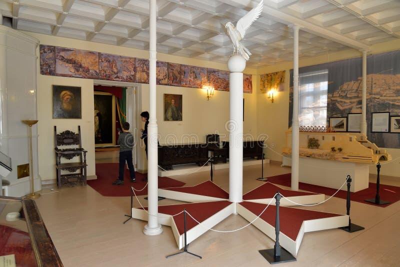 Το εσωτερικό της αίθουσας το παλάτι κοινοβίων στη Γκάτσινα στοκ φωτογραφία